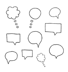speach bubble symbols set of grunge brush vector image