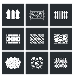Collection of fences from different materials vector