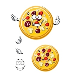 Cartoon italian pizza with ingredients vector