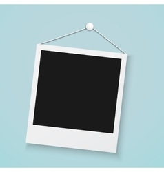 Realistic photo frame on a wall with office button vector