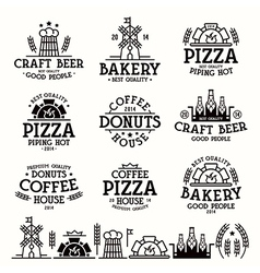 Labels for bakery cafe pizzeria vector