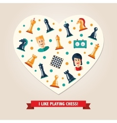 Heart postcard with flat design chess and players vector
