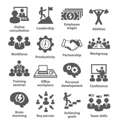 Business management icons Pack 11 vector image