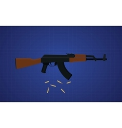 Ak47 gun with blue background vector