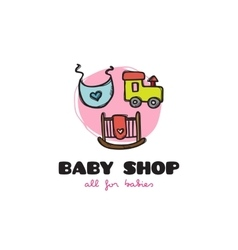 Funny cartoon style baby shop logo sketchy vector