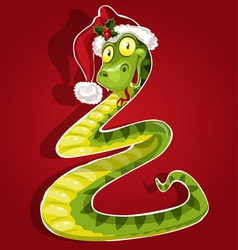 New Year Snake on red background vector image
