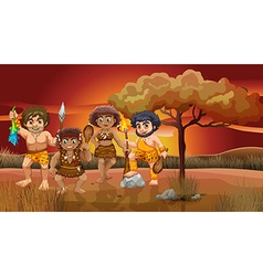 A group of cavemen vector image