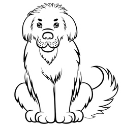 big fluffy dog contour vector image vector image