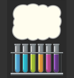 Border template with testtubes filled with liquid vector