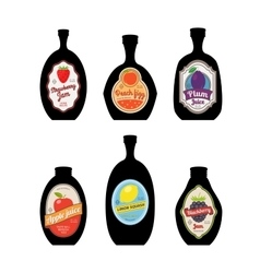 Bottles silhouettes with vintage labels vector