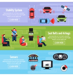 Car safety systems horizontal banners vector