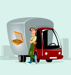 courier delivering the pizzas vector image