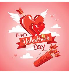 Cupids arrow valentines day card vector