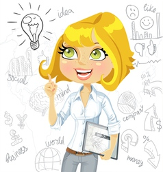 Cute girl with electronic tablet inspiration idea vector image vector image