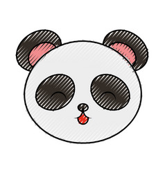 Cute scribble panda bear face vector