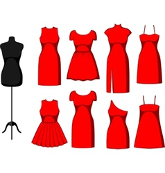 Different cocktail and evening dresses vector