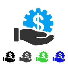 Financial development gear hand flat icon vector