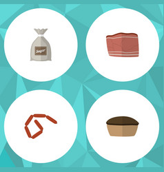 Flat icon food set of tart sack bratwurst and vector