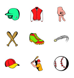 game stadium icons set cartoon style vector image vector image