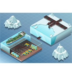 Isometric Arctic Subsea Farm and Tubes vector image vector image