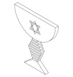 Judaic bowl isometric 3d icon vector image