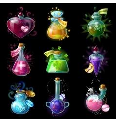 Magic potions icon set vector