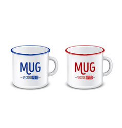 Realistic enamel metal white mugs isolated vector