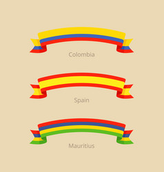 Ribbon with flag of colombia spain and mauritius vector