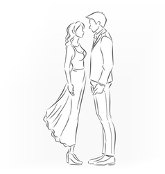 romantic couple that want to kiss vector image