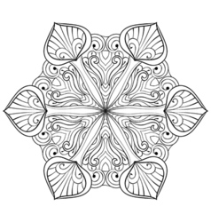 Snow flake in zentangle doodle style mandala for vector
