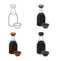 Soy sauce icon in cartoon style isolated on white vector