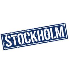 Stockholm blue square stamp vector
