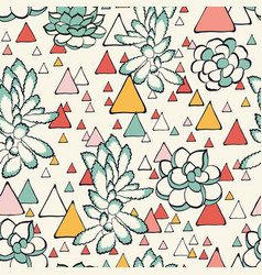 Succulent and triangles seamless pattern vector