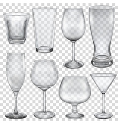 Transparent empty glasses vector