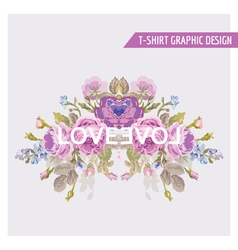 Vintage Flowers Graphic Design - for t-shirt vector image vector image