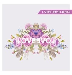 Vintage Flowers Graphic Design - for t-shirt vector image