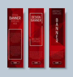 web banners with abstract polygonal red background vector image