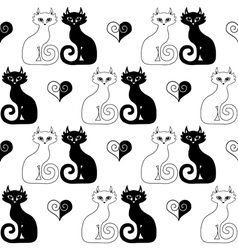 White cat and black cat vector image