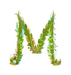 Letter m flower calligraphy floral elegant vector