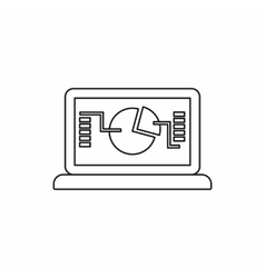 Laptop with business graph icon outline style vector