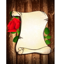 Old paper with red rose vector