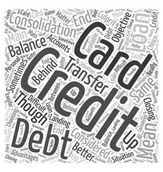 Credit card debt consolidation loan word cloud vector