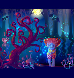 dark magic enchanted forest template vector image