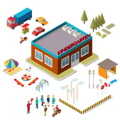 Icons of the kindergarten building playground vector