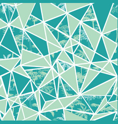 Abstract tropical palm trees and triangles vector