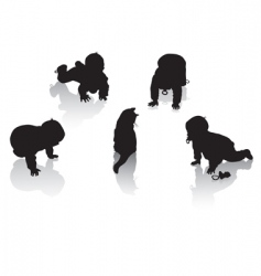 Silhouettes of childhood vector