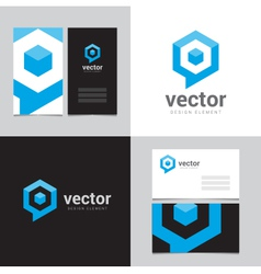 Logo design element with two business cards - 12 vector