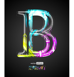 Design light effect alphabet letter b vector