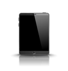 Dark modern tablet computer with black screen vector