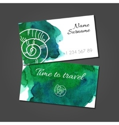 Business card with seashell on watercolor stain vector